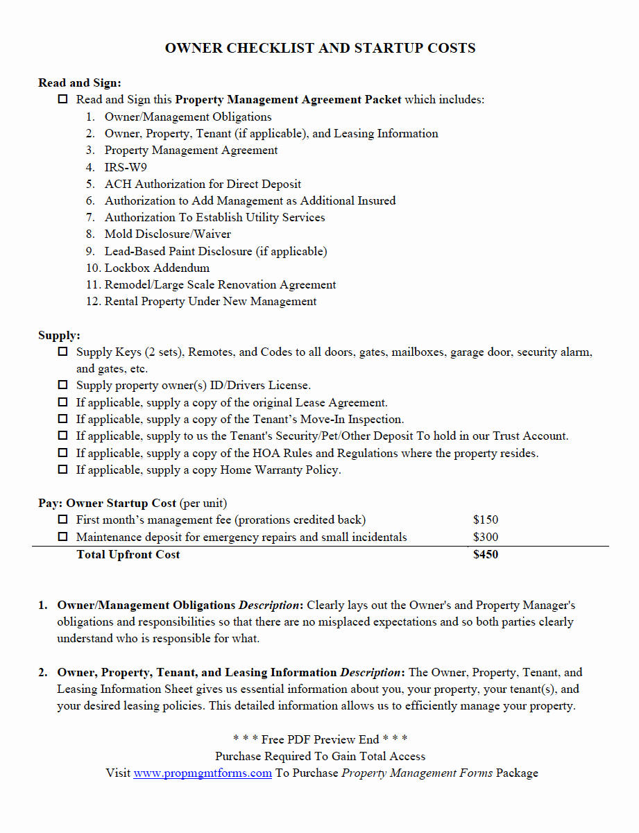 Property Management Checklist Template Lovely Property Management forms