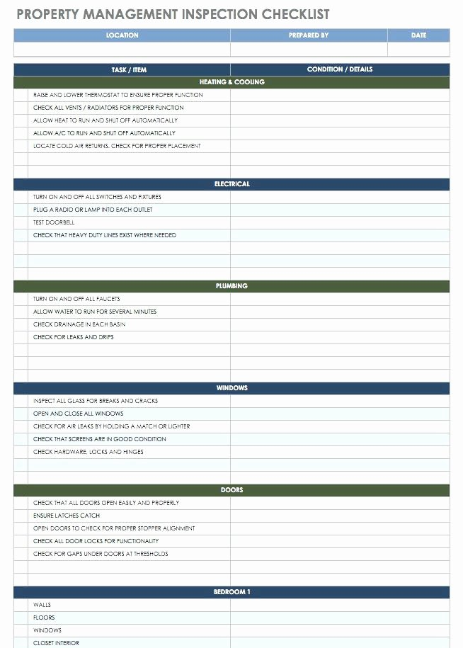 Property Management Checklist Template New Residential Property Inspection Checklist – Peero Idea