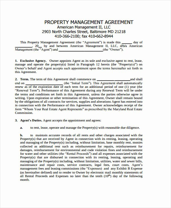 Property Management Contract Template Awesome 15 Management Agreement Templates Word Pdf