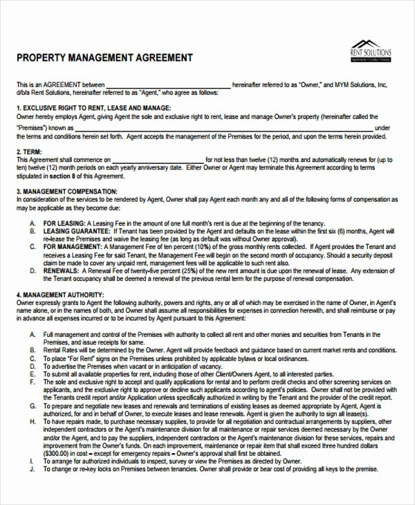 Property Management Contract Template Awesome 9 Management Agreement Templates Free Sample Example