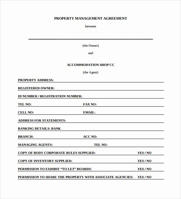 Property Management Contract Template Beautiful 12 Management Agreements to Download