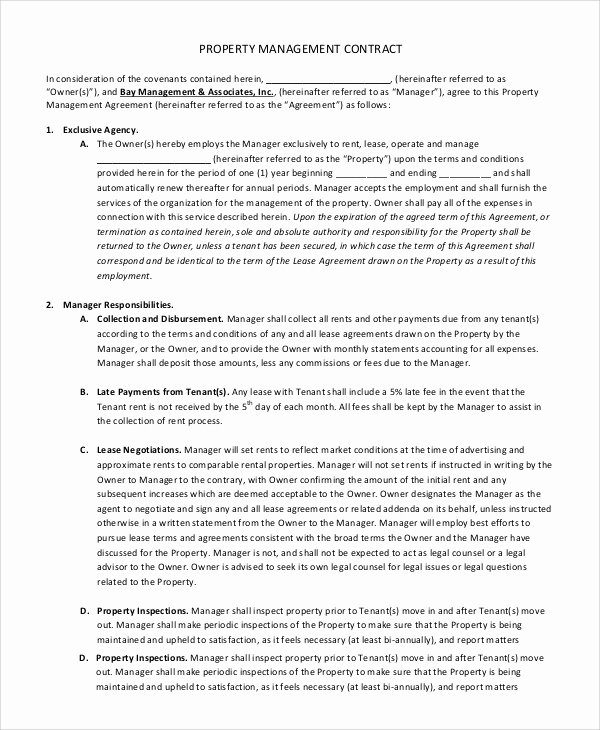 Property Management Contract Template Beautiful Sample Contract Management 8 Examples In Pdf Word