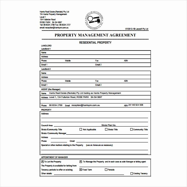 Property Management Contract Template Best Of 6 Property Management Agreement Templates Pdf