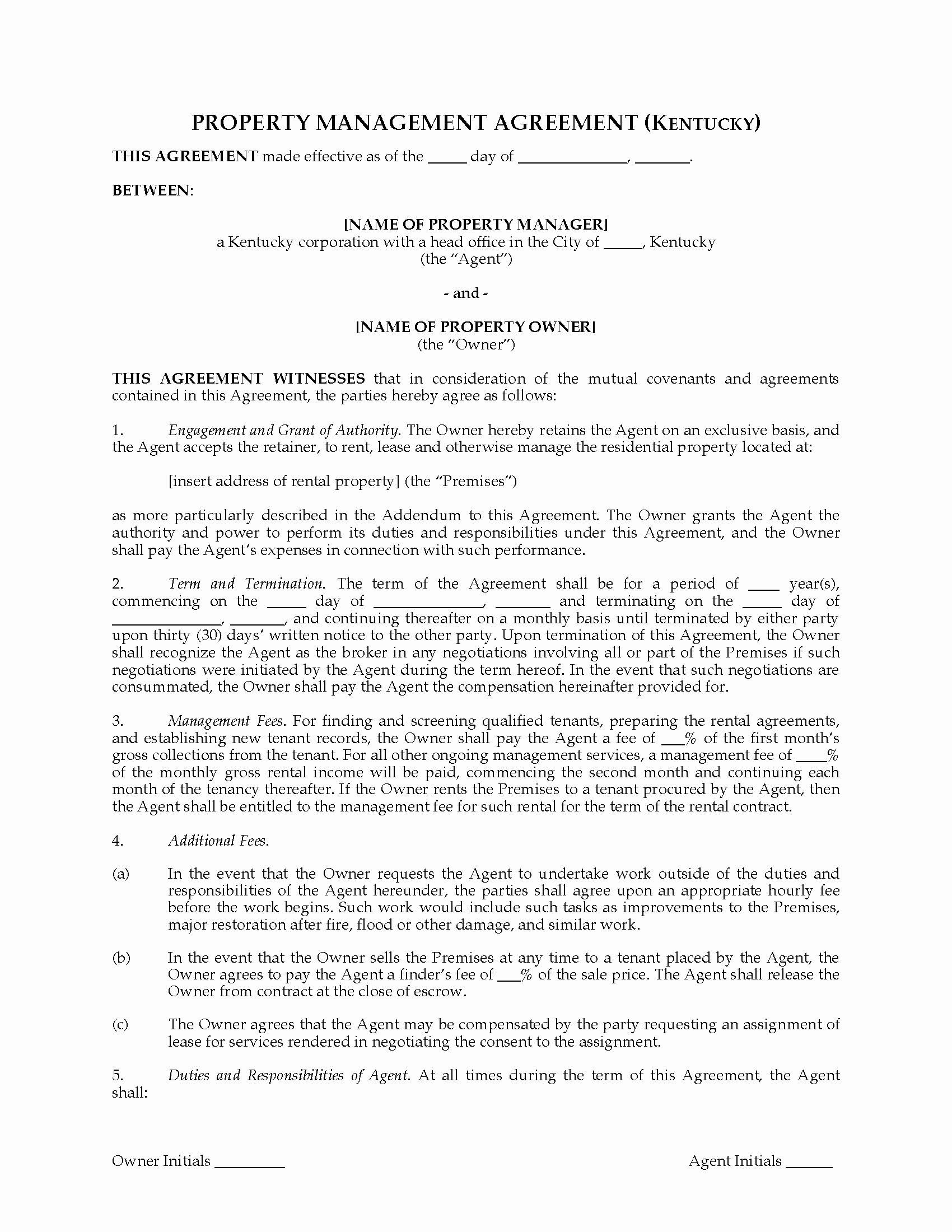 Property Management Contract Template Best Of Kentucky Rental Property Management Agreement