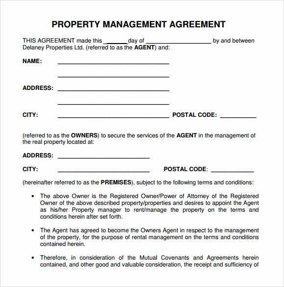 Property Management Contract Template Elegant Property Management Agreement 10 Download Free