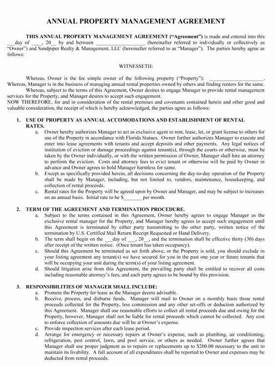 Property Management Contract Template Inspirational Sample Management Agreement