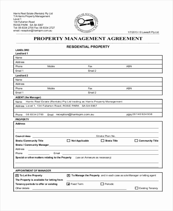 Property Management Contract Template New 8 Sample Mercial Property Management Agreements Word