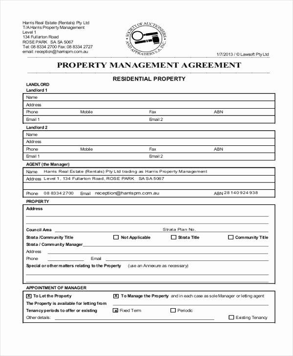 mercial property management agreement