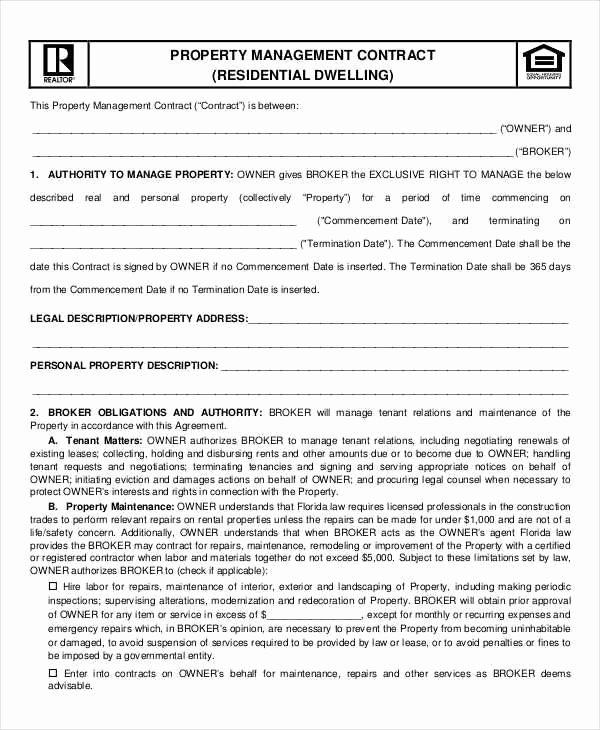 Property Management Contract Template Unique 7 Property Contract Samples & Templates