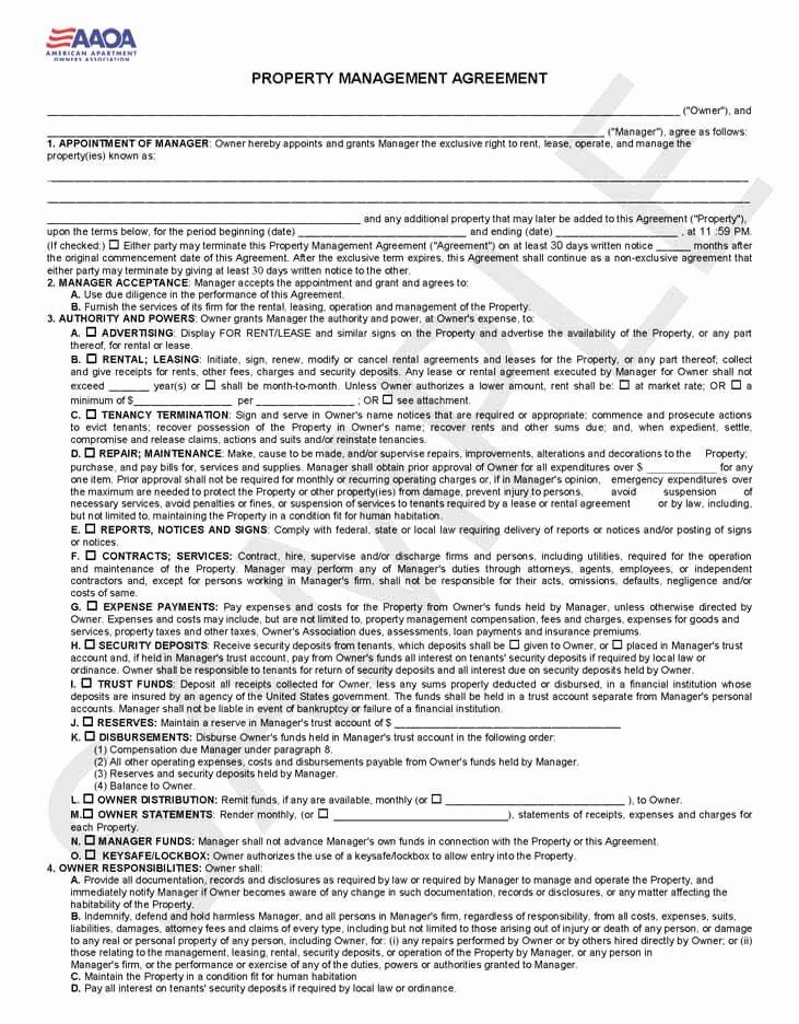 Property Management Contract Template Unique Property Management Agreement form