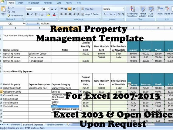 Property Management Excel Template Awesome 12 Best Images About Rental Property Management Templates