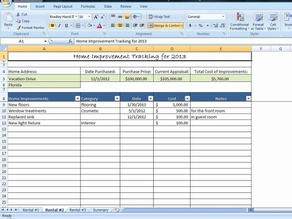 Property Management Excel Template Best Of Home Improvement Tracking Template In Excel Spreadsheet