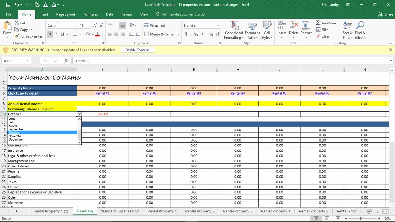 Property Management Excel Template Fresh Rent Calculator Landlord Template Rental Property Profit