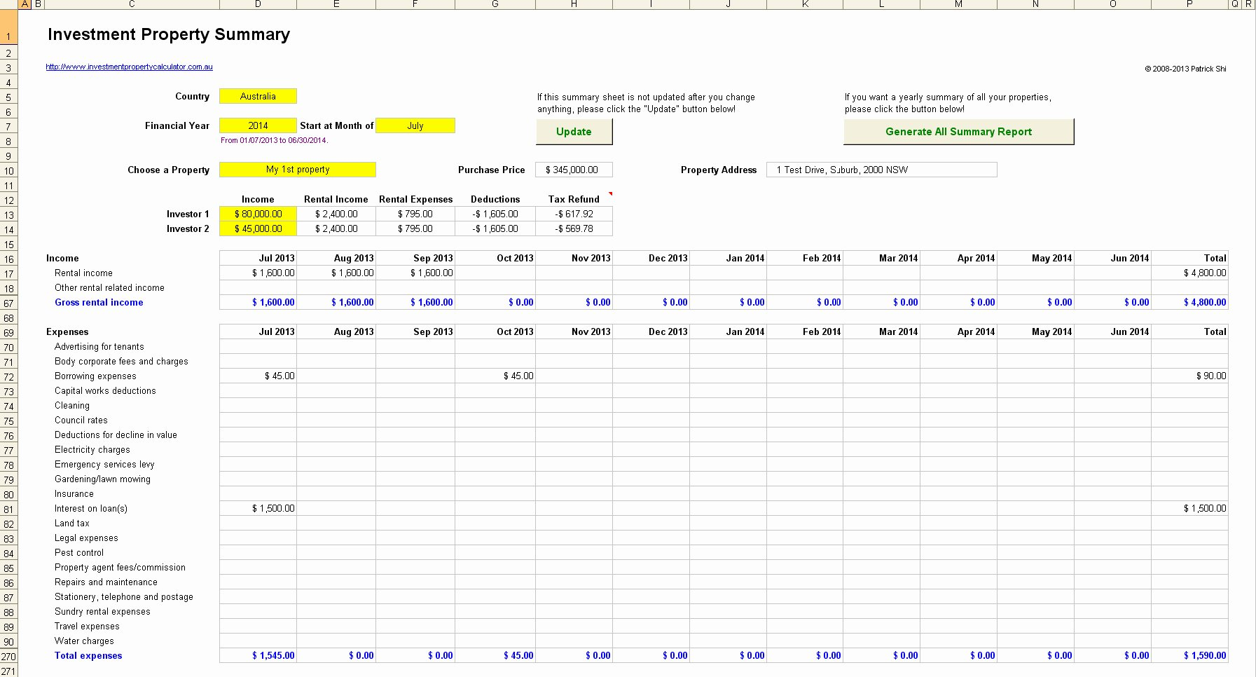 Property Management Excel Template Luxury Rental Investment Property Record Keeping Spreadsheet