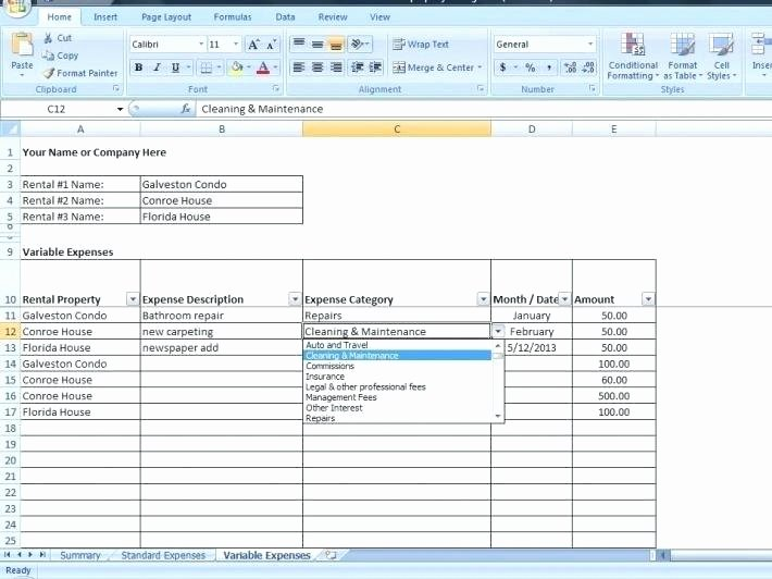 Property Management Excel Template New Rental Property Spreadsheet Template Wcc Usa