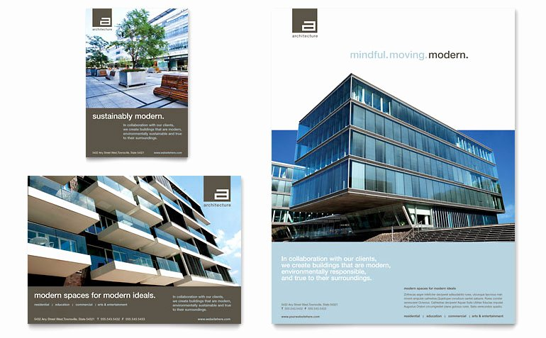 Property Management Web Template Elegant Architect Flyer & Ad Template Word & Publisher