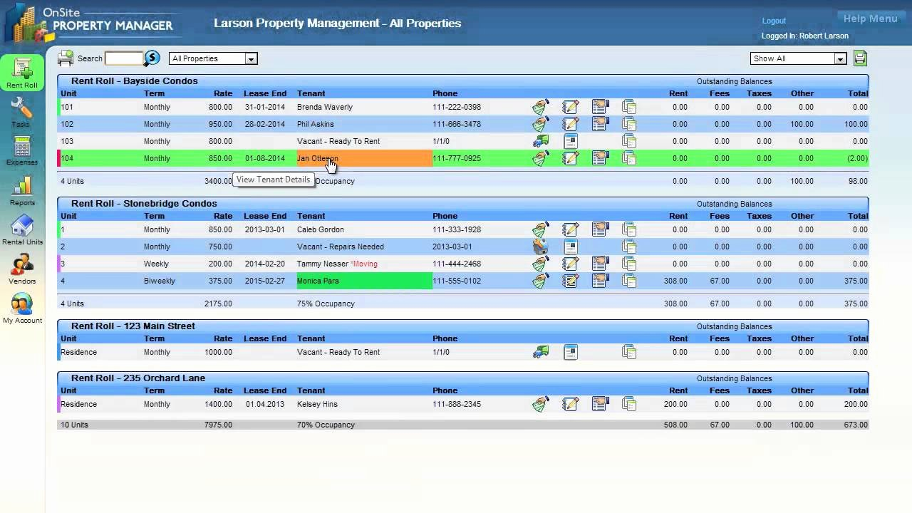 Property Management Web Template Inspirational Sitepropertymanager Rent Roll Overview