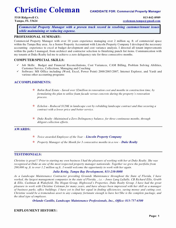 Property Management Web Template Lovely Resume Cac1