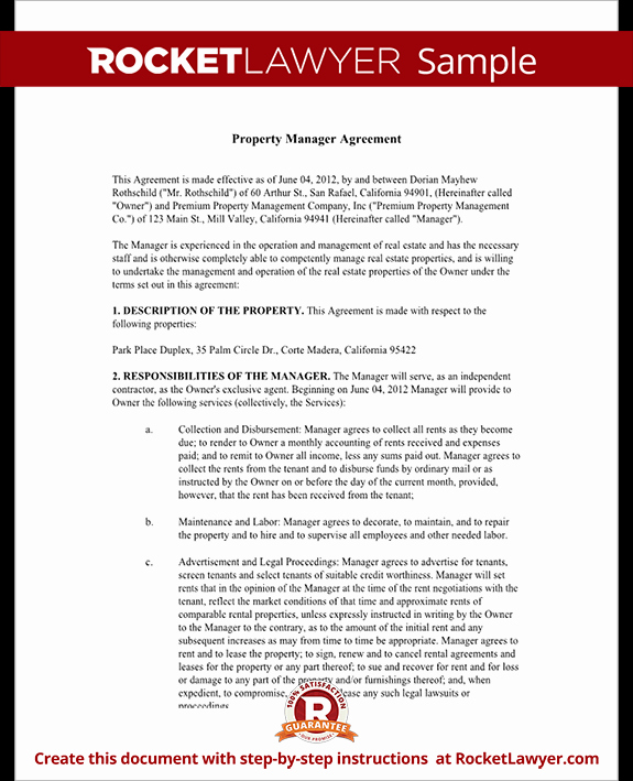 Property Management Web Template New Property Management Agreement form Free Template with
