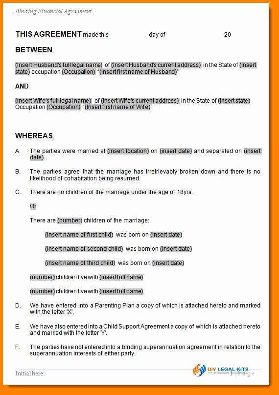 Property Settlement Agreement Template Beautiful 6 Sample Divorce Agreement