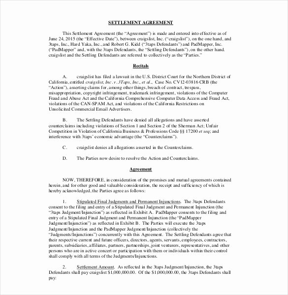 Property Settlement Agreement Template Best Of 20 Settlement Agreement Templates Word Pdf Pages