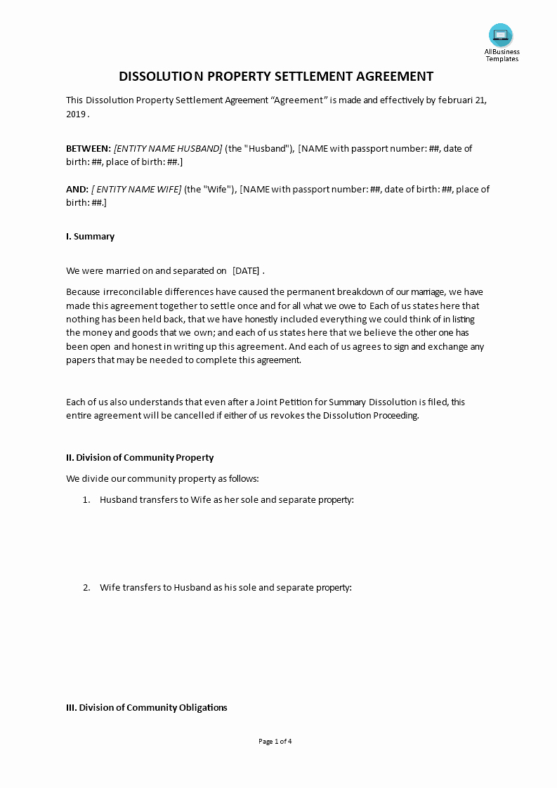 Property Settlement Agreement Template Best Of Dissolution Property Settlement Agreement Template