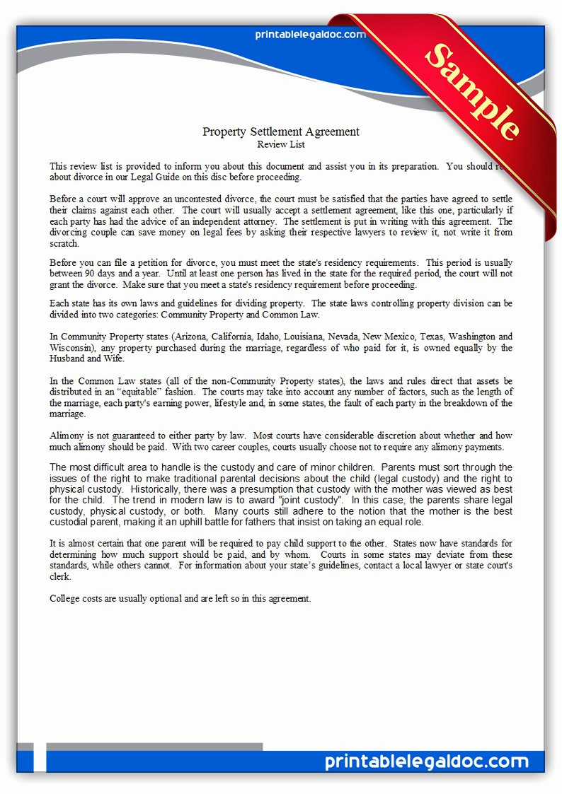 Property Settlement Agreement Template Best Of Free Printable Property Settlement Agreement form Generic