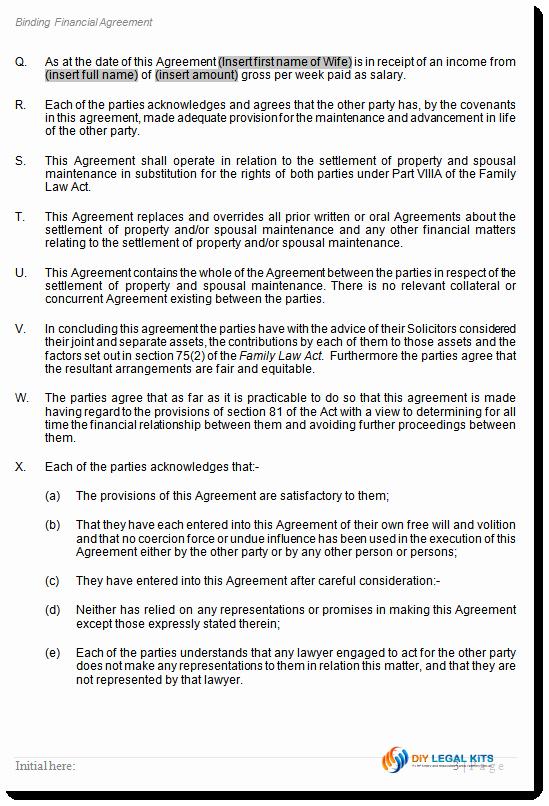 Property Settlement Agreement Template Inspirational Divorce Property Settlement Financial Agreement 90d