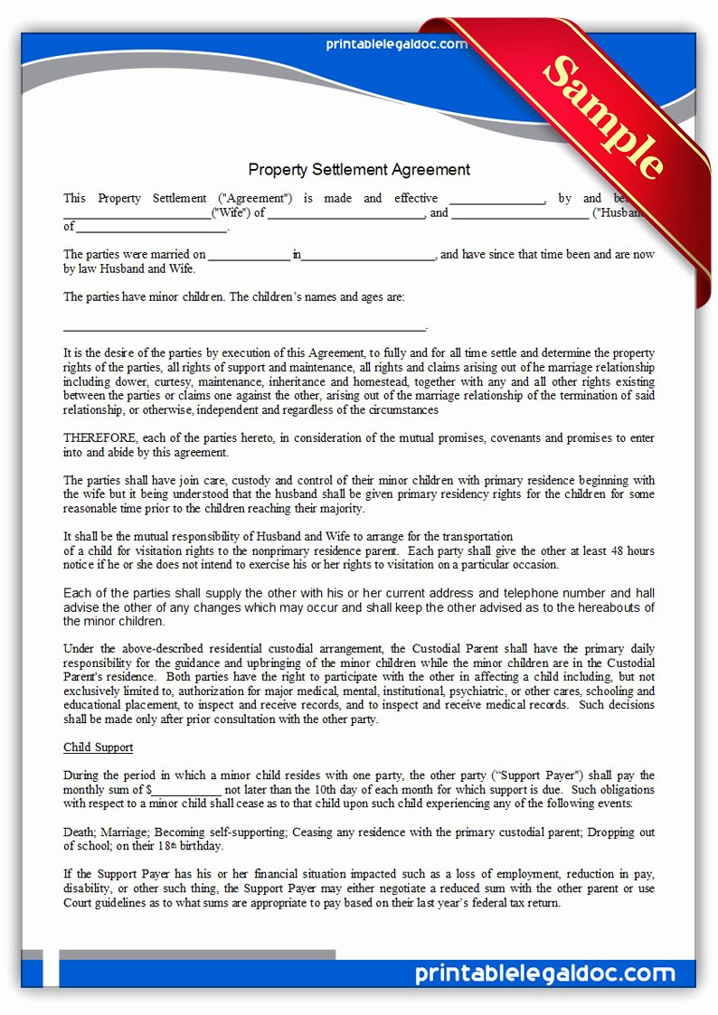 Property Settlement Agreement Template Luxury Free Printable Property Settlement Agreement form Generic