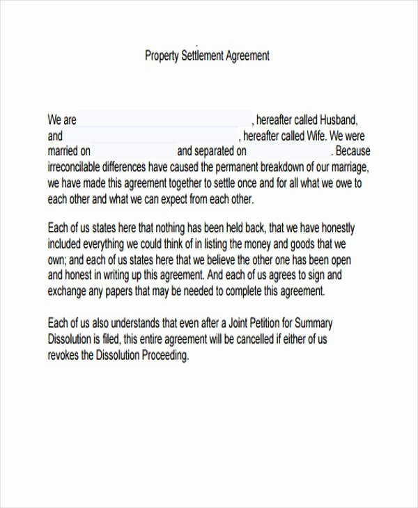 Property Settlement Agreement Template Luxury Property Agreement form 11 Free Documents In Word Pdf