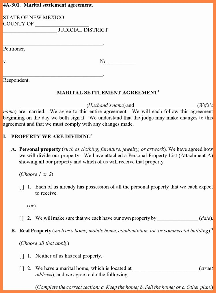 Property Settlement Agreement Template Unique Munity Property Agreement Template Detail 18 Best