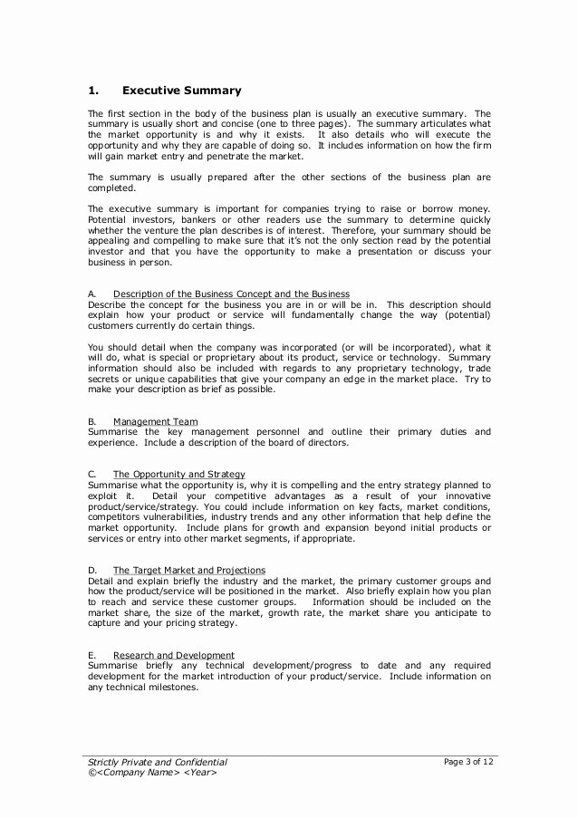 Proposal Executive Summary Template Fresh Startup Business Plan Template 2