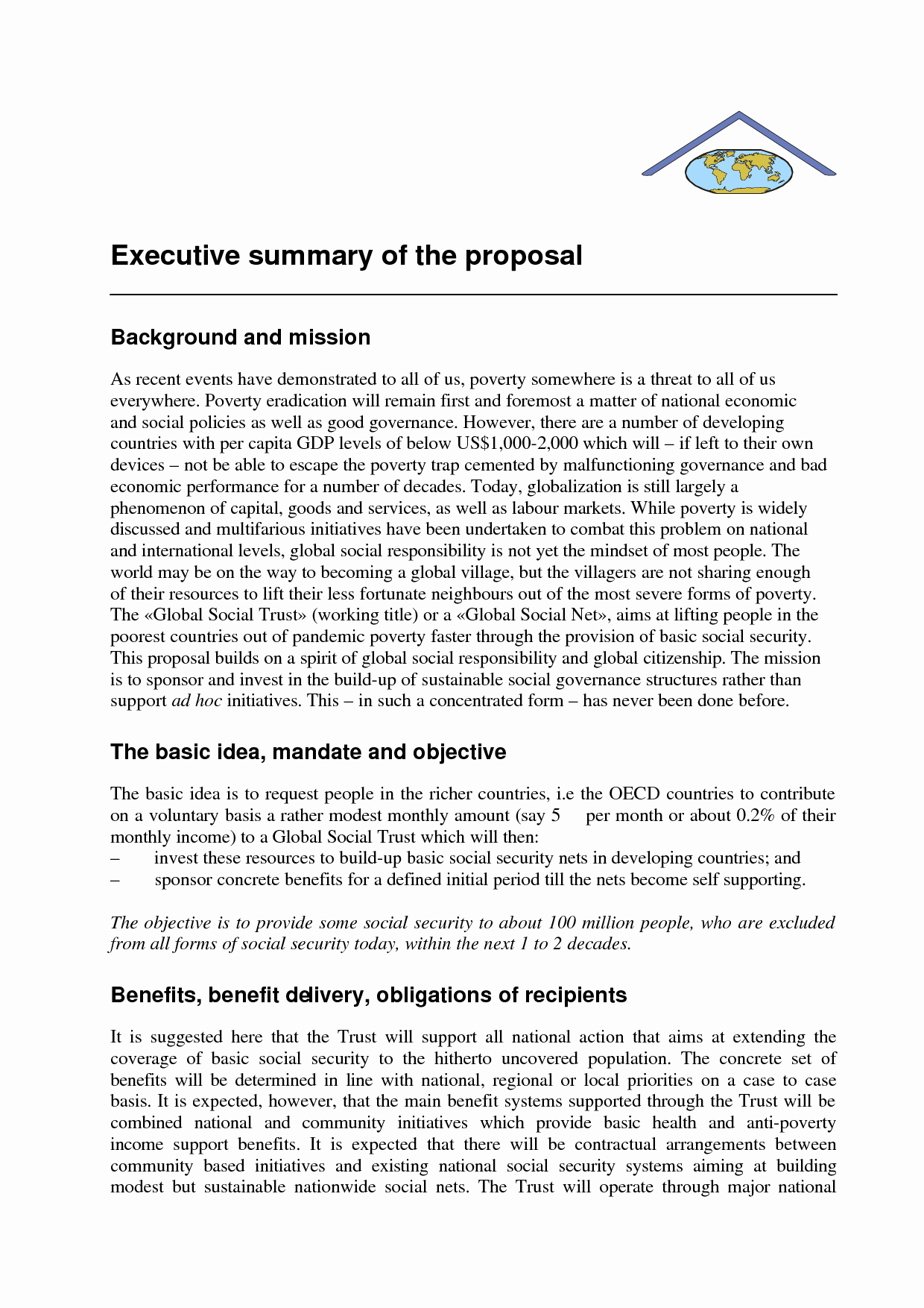 Proposal Executive Summary Template Unique Examples Of Executive Summary for A Business Plan