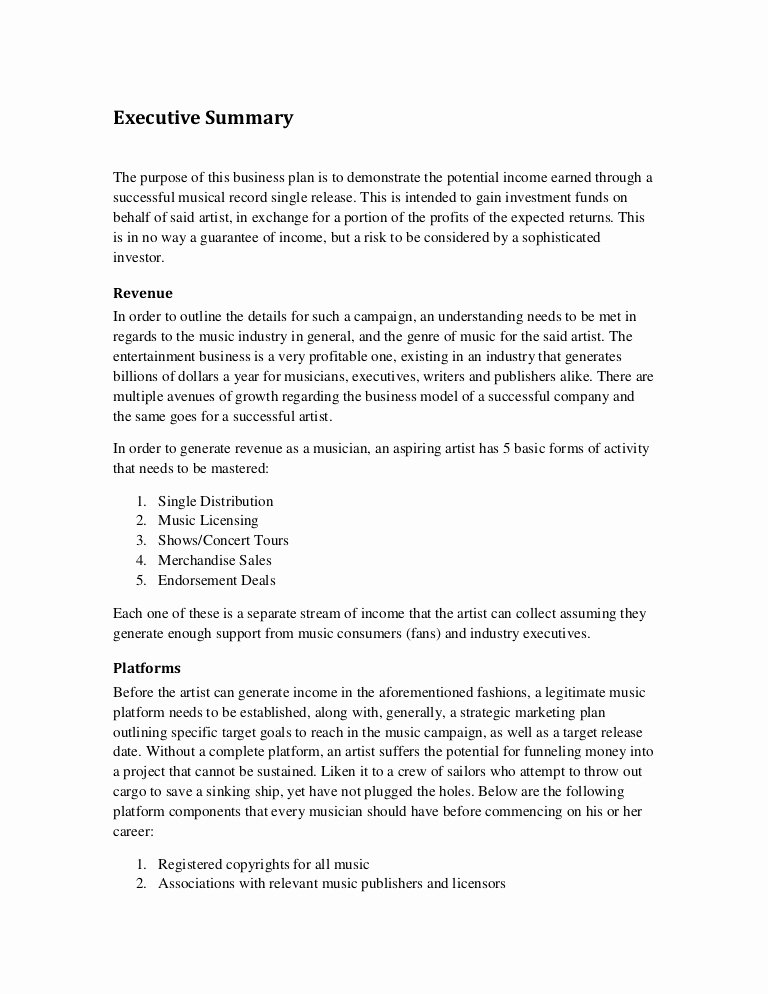 Proposal Executive Summary Template Unique Music Marketing Plan Executive Summary
