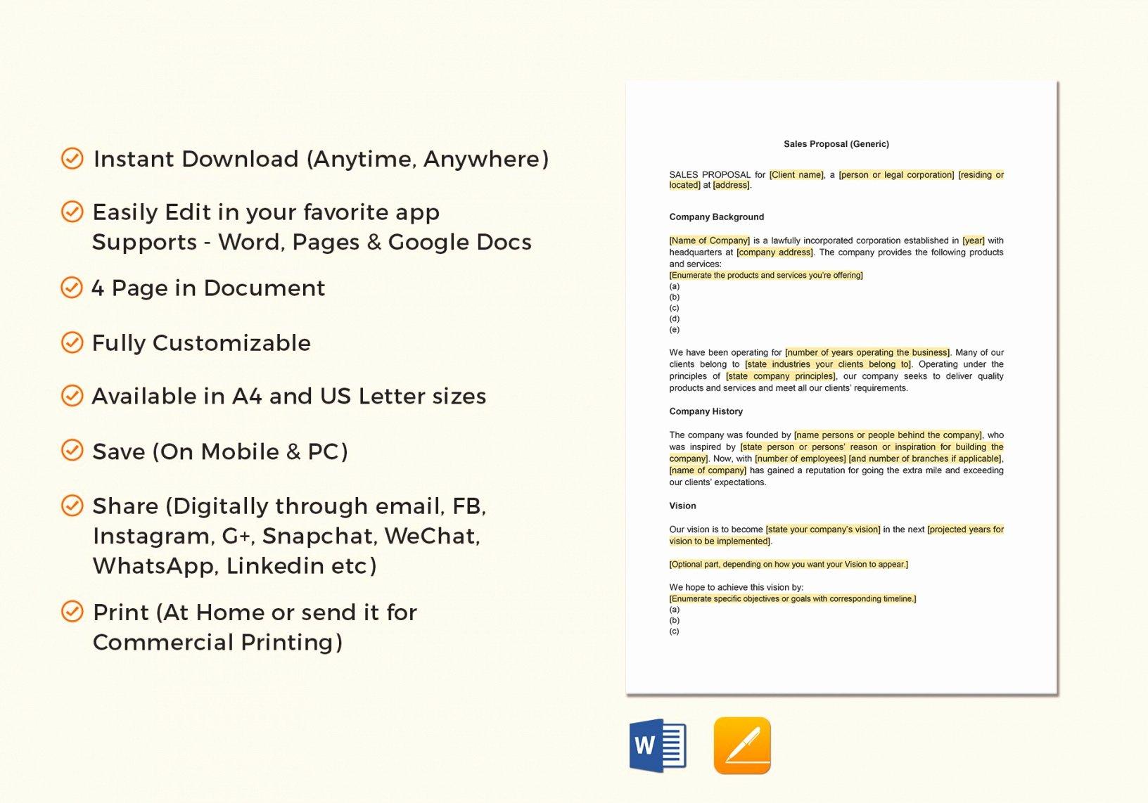 Proposal Template Google Docs Inspirational Sales Proposal Template In Word Google Docs Apple Pages