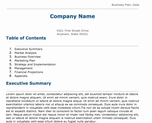 business plan template for google docs