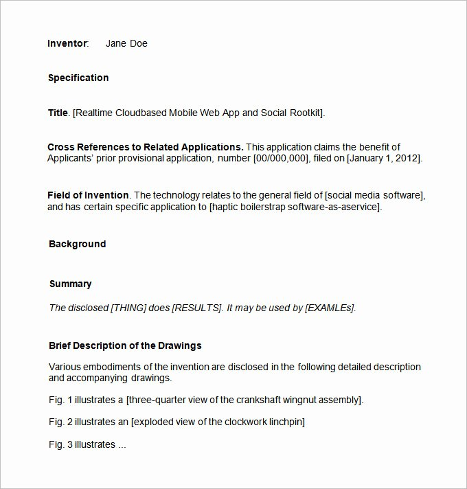 Provisional Patent Application Template Lovely Patent Application Template – 12 Free Word Pdf Documents
