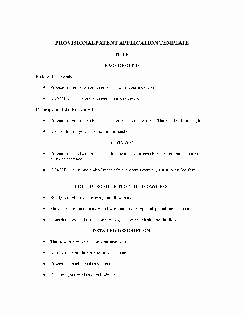 Provisional Patent Application Template Luxury Free Provisional Patent Application Template