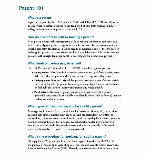Provisional Patent Application Template Unique 12 Patent Application Templates Free Sample Example