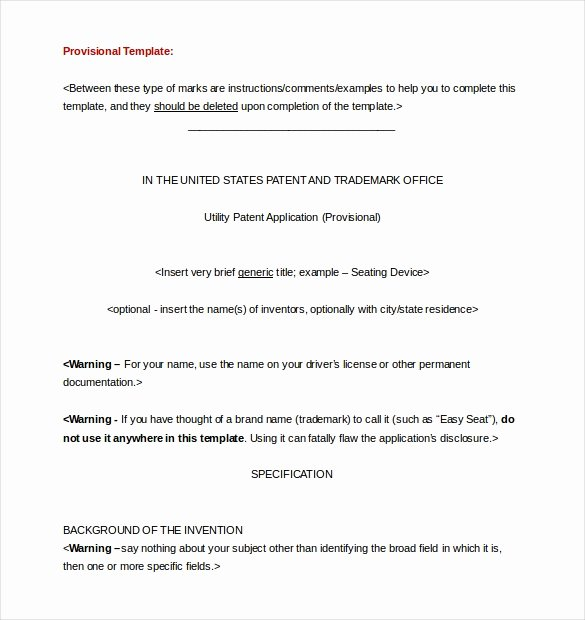 Provisional Patent Application Template Unique Patent Application Template – 12 Free Word Pdf Documents