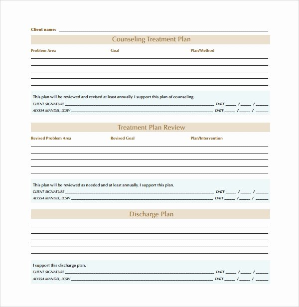 Psychotherapy Treatment Plan Template Awesome 8 Treatment Plan Templates
