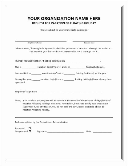 Pto Request form Template Beautiful Employee Vacation Leave Request and Pto forms