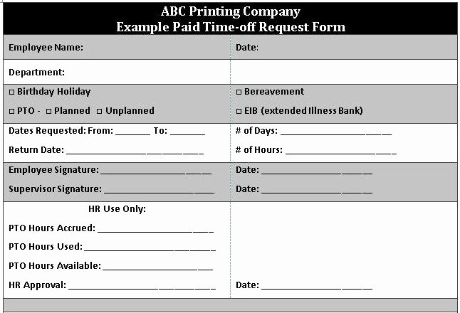 Pto Request form Template Elegant 5 Vacation Request form Templates Excel Xlts