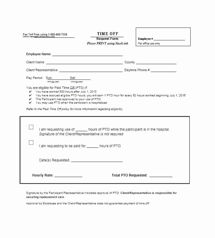 Pto Request form Template Luxury Printable Time F Request form Template Pto Sample