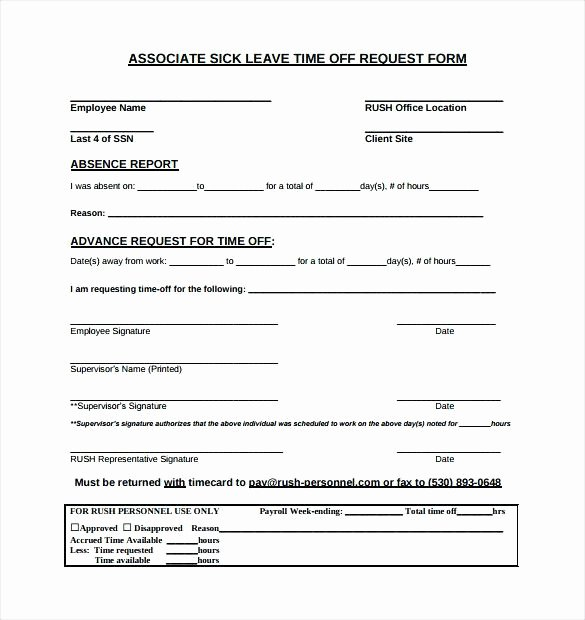 Pto Request form Template New Paid Time F Request form Pto Template Templates