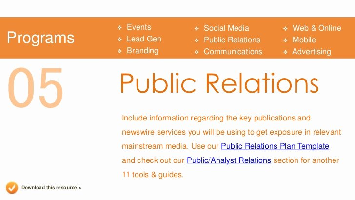 Public Relation Plan Template Unique Marketing Plan Presentation Template