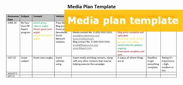 Public Relations Plan Template Unique A Free Able Media Plan Template
