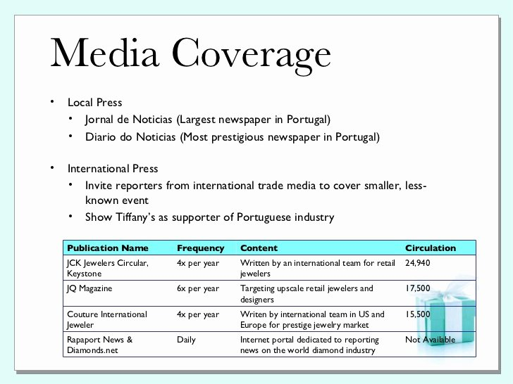 Public Relations Planning Template New Tiffany & Co Pr Plan