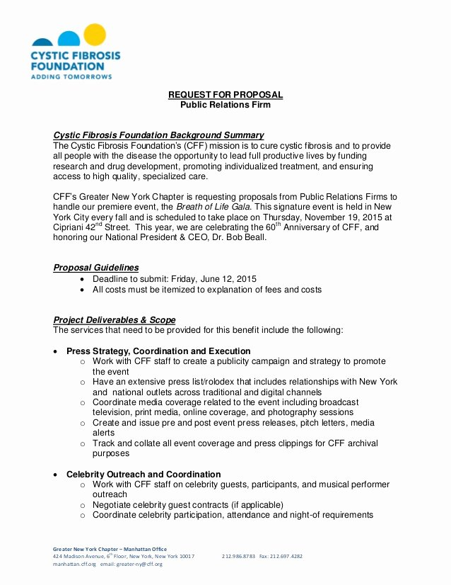 Public Relations Plans Template Beautiful Cystic Fibrosis Foundation Request for Proposal Public