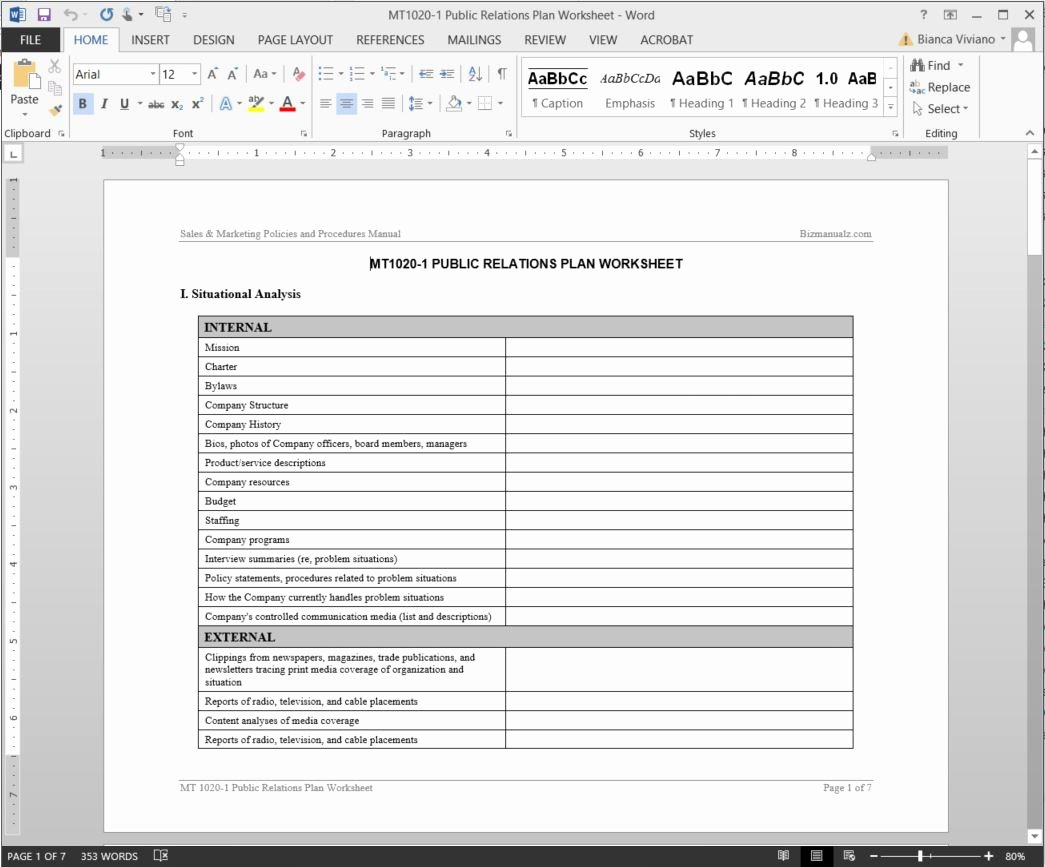 Public Relations Plans Template Beautiful Public Relations Plan Worksheet Template